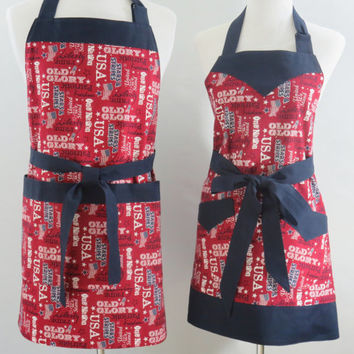 His & Her Patriotic Matching Aprons, 4th of July, BBQ, Family, Personalized Couple, New Home, Housewarming, Wedding, Bridal Shower Gift