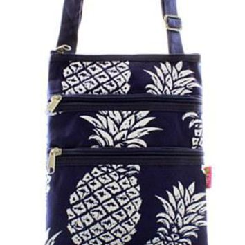 Pineapple Print Messenger Bag