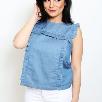 Ruffled Chambray Denim Top