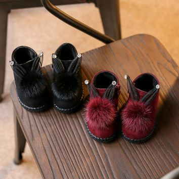 Winter little girls boots Baby Leather Snow Boots quality winter shoes,winter chill-proof Baby kids Little Bunny Plush Shoes