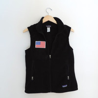 Vintage Black Patagonia American Flag Fleece Vest Size MEDIUM