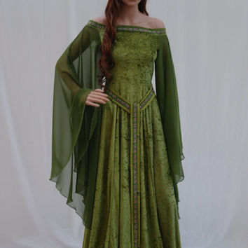 Elven dress, Celtic wedding dress, medieval dress, renaissance dress, forest, fairy dress, custom made