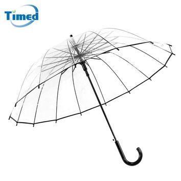 2017 Fashion 16 Rib Transparent Umbrellas Male Female Rain Long-handle Straight Stick Umbrella Women Men rain Big Bumbershoot