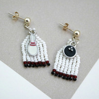 Bowling Charms, White, Red, Black, Beaded Sports Earrings