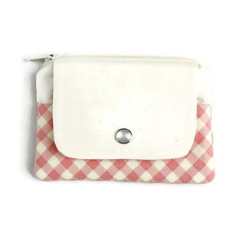 Coin Purse & Card Holder in Pink Gingham, Stylish Pocket Wallet, Card Case, Zippered Pouch, Free Shipping