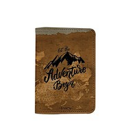 Let The Adventure Begin World Map [Name Customized] Leather Passport Holder/Cover /Wallet_SCORPIOshop