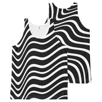 wild and crazy black and white stripes tank top All-Over print tank top