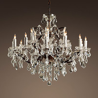 19th C. Rococo Iron & Crystal Chandelier Large
