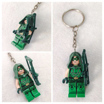 Lego BOGO Buy 1 Get 1 Promo! Lego® The Green Arrow Keychain, DC Comics Superhero Keychain, FREE Lego® Minifigure Keychain Party Favors Gift