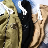 Champion Embroidery  Long Sleeve Cardigan Jacket Coat