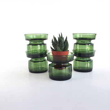 Set of 5 Mid Century Dansk Glass Votive Holders, Vintage Dansk Green Glass Candle Holder or Air Plant Holder