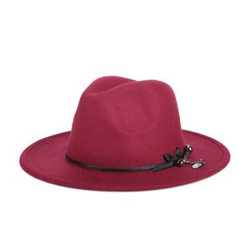 NEW Fashion Sweet Solid Color Women's Beach Retro Vintage Wool Felt Bowler Pearls Fedora Hat Autumn Winter Bucket Caps For Woman