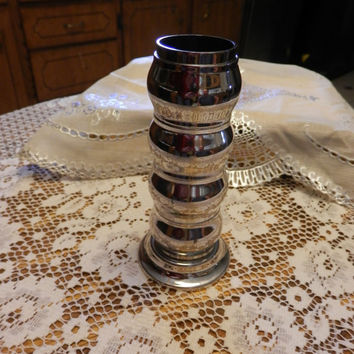 Vintage Hong Kong Silverplate Napkin Ring Set With Standing Holder