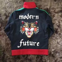 """Gucci""Fashion Angry Cat Embroidery Zip Cardigan Jacket Coat"