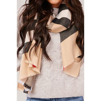 Endless Winter Plaid Cashmere Scarf (Brown)