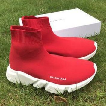 Red Balenciaga Woman Men Boots Fashion Breathable Sneakers Running Shoes