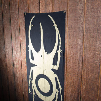 Wall Tapestry- Gold Beetle Banner- Organic Cotton Canvas w/ Eyelets SALE