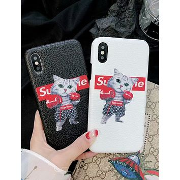 LV Louis Vuitton & Supreme Joint Boxing Cat Print iPhone Universal Phone Case F-OF-SJK