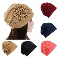 Women Fashion Big Flower Turban Hat Women Hair Accessories Chemo Hair Cap for Cancer Bonnet Headwear Turban