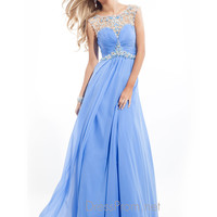 High Neck With Sheer And Beaded Back Prom Dress By Rachel Allan 6934