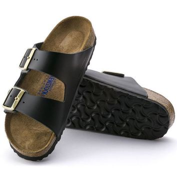 Sale Birkenstock Arizona Soft Footbed Leather Hunter Black 752893 Sandals