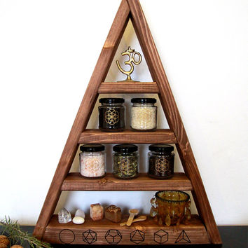 pyramide shelf, triangle, herbs, witch, pagan, witchy, wicca, kitchen, chrystal display, stones, storage, glas, glases, moon zyclus