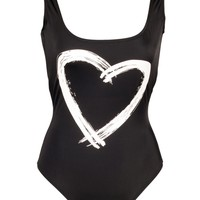 Black Low Back Tank Mio with Heart Graphic