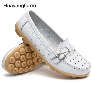 2017 Shoes Woman Genuine Leather Women Shoes Flats 8 Colors Buckle Loafers Slip On Wom