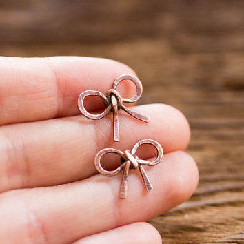 Bow stud earrings - copper bows - girlish jewelry