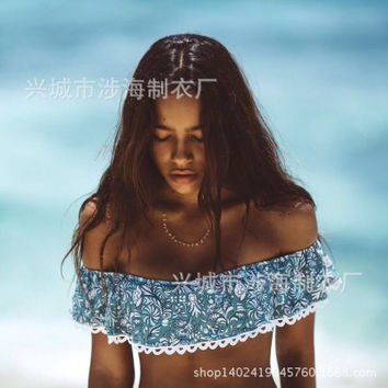 2017 Trending Fashion Floral Printed Lace Floral Printed Boat Neck Off Shoulder Two-Piece Bikini Swim Suit Beach Bathing Suits Swimwear _ 13065
