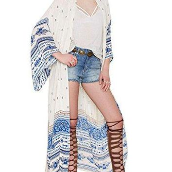 shermie Womens Long Print Chiffon Kimono Kaftan Swimwear Beach Cover up Cardigan