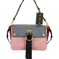 Moschino Colorblock Flap Shoulder Bag, Pink/Gray