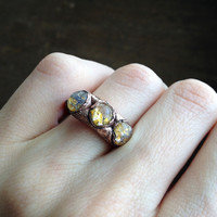 Golden Crackle 3 Cabochon Vintage Glass Electroformed Ring - Size 6.5