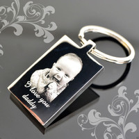 Personalised St. Steel Rectangle Keyring | Photo Engraved Father's Day Gift