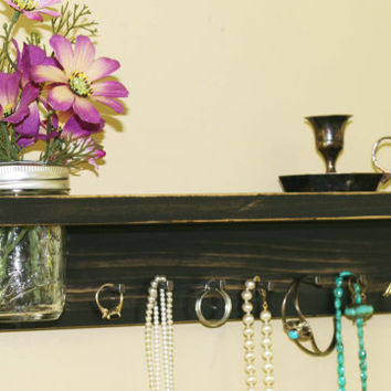 Jewelry Holder Storage Organization Hanging Necklace Shelf Vintage Antiqued Black Mason Jar Frog Lid Necklace Organizer Jewelry Key Holder