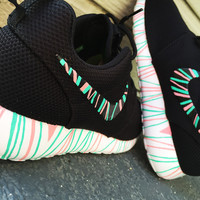 Women's Custom Nike Roshe Run sneakers, South Beach teal/ Pink petals, Fashionable design,