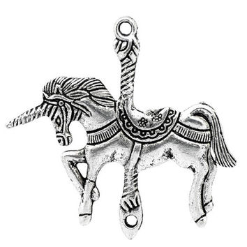 2 Silver Unicorn Charm Pendants Carousel Horse Beautiful Large 106A