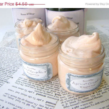 Apricot Grapefruit Whipped Soap, Cream Soap in a Jar, Natural Vegan Soap 2 oz Trial Size
