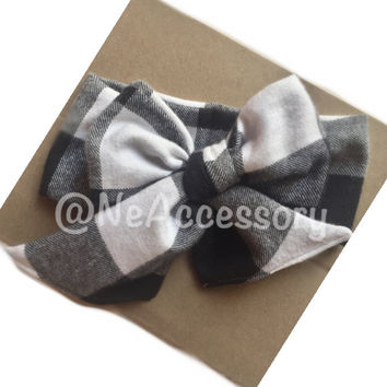 Black and White Buffalo Plaid Headwrap,  Plaid Fabric Baby Headwrap, Flannel Bow Headband, Buffalo Plaid Headwrap