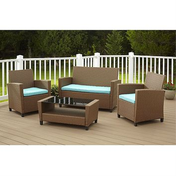 4-Piece Outdoor Patio Furniture Set in Brown Wicker Resin with Teal Cushions