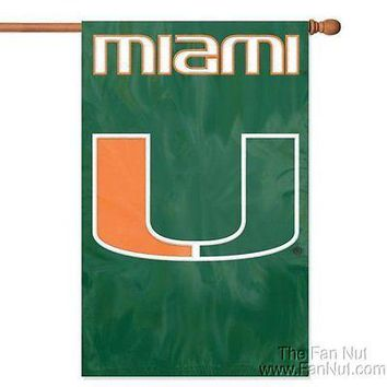 Miami Hurricanes 2-sided 28x44 Embroidered Applique Banner Flag University of