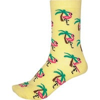 River Island Womens Yellow novelty flamingo print socks