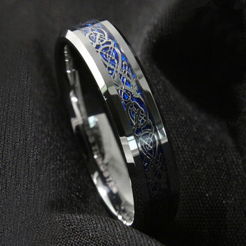 Free Shipping ! New 6Mm Silvering Dragon Tungsten Carbide Ring Mens Jewelry Wedding Band