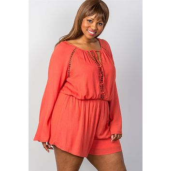 Ladies fashion plus size ladder inset romper