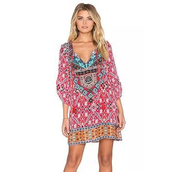 Boho Style Mini Dress Women Off Shoulder Beach  Women 3/4 Sleeves Geometric Pattern Vintage Print Loose Summer Dress