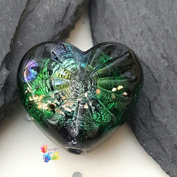 Lampwork Focal Bead, Deep Sea Treasure Starburst Heart, Heart Bead, Jewel Tones, Glitter Bead, Gold, Faceted Bead, Deep Sea, Palladium
