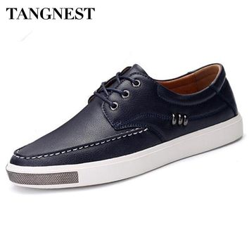 Tangnest Luxury Men Casual Dress Shoes British Style Cow Split Leather Flats Man Metal Lace Up Shoes Man Vulcanize Shoes XMR2515