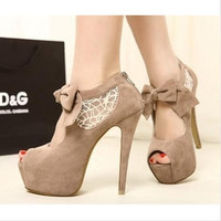 FASHION LACE BOW SHOES HIGH HEEL