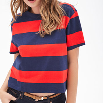 FOREVER 21 Striped Boxy Knit Tee Red/Navy