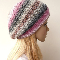 Knit Hat Slouch Beanie Hand Knit Hat Multicolor Silk and Wool Slouchy Beret Winter Accessories Chunky Knit